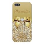 Lentejuelas, arco y diamante del oro personalizado iPhone 5 funda