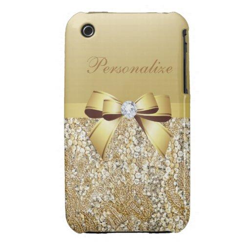 Lentejuelas, arco y diamante impresos del oro Case-Mate iPhone 3 coberturas