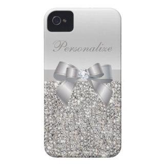 Lentejuelas, arco y diamante impresos plata iPhone 4 protector