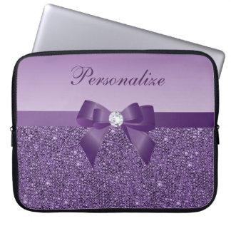 Lentejuelas, arco y diamante púrpuras impresos fundas computadoras