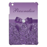 Lentejuelas, arco y diamante púrpuras impresos iPad mini protector