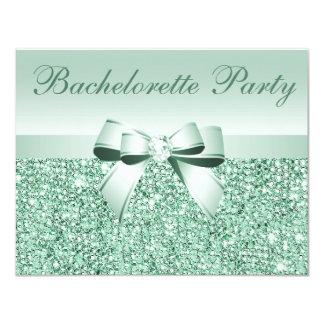 Lentejuelas, arco y diamante verdes impresos invitación 10,8 x 13,9 cm