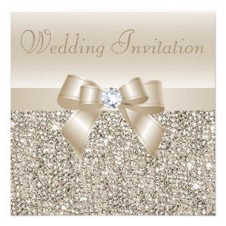 Lentejuelas de Champán arco y boda de diamante Invitaciones Personales