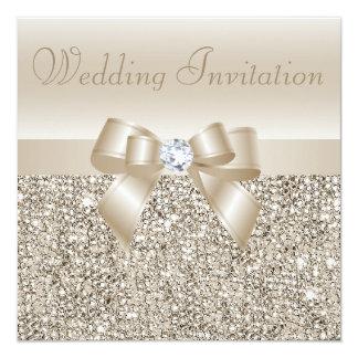 "Lentejuelas de Champán, arco y boda de diamante Invitación 5.25"" X 5.25"""