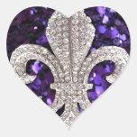 Lentejuelas de la flor de lis de la joya de la chi calcomania corazon personalizadas