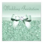 Lentejuelas de la verde menta, arco y boda de invitaciones personalizada