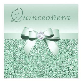 Lentejuelas de la verde menta, arco y diamante invitación 13,3 cm x 13,3cm