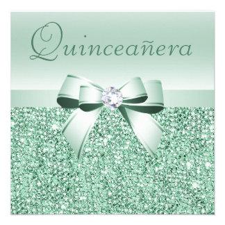 Lentejuelas de la verde menta arco y diamante Qui Comunicados Personales
