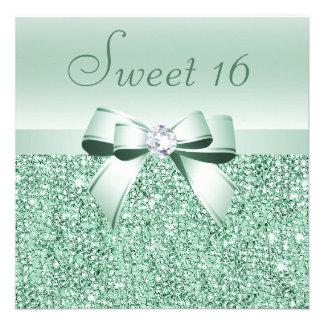 Lentejuelas de la verde menta arco y dulce 16 del comunicados personalizados
