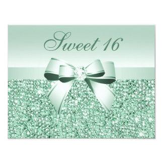 Lentejuelas de la verde menta, arco y dulce invitación 10,8 x 13,9 cm