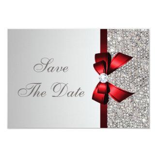 """Lentejuelas de plata, arco rojo y reserva del invitación 3.5"""" x 5"""""""