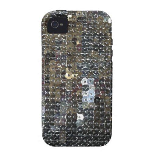 Lentejuelas de plata brillantes vibe iPhone 4 carcasa
