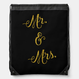 Lentejuelas de Sr. y de señora Gold Faux Glitter Mochila