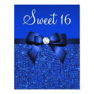 Lentejuelas del azul real, arco y dulce impresos invitación 10,8 x 13,9 cm