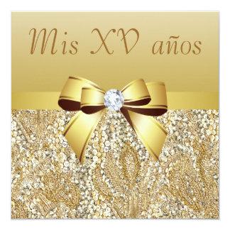 """Lentejuelas del oro, arco y diamante Quinceanera Invitación 5.25"""" X 5.25"""""""