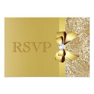 Lentejuelas del oro arco y diamante RSVP Invitacion Personalizada
