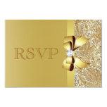 Lentejuelas del oro, arco y diamante RSVP Invitación 8,9 X 12,7 Cm