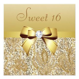 Lentejuelas del oro arco y dulce 16 del diamante comunicados