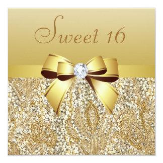 Lentejuelas del oro, arco y dulce 16 del diamante invitación 13,3 cm x 13,3cm