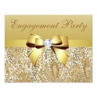 Lentejuelas del oro, arco y fiesta de compromiso comunicado