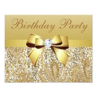 Lentejuelas del oro, arco y fiesta de cumpleaños anuncio personalizado