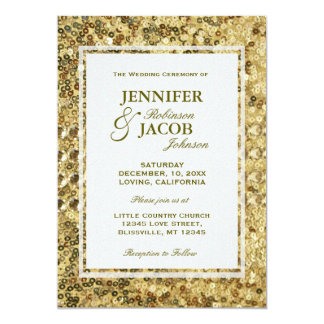 Lentejuelas del oro de la invitación el | del boda