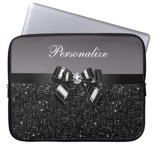 Lentejuelas impresas, arco y diamante negros y bla funda computadora