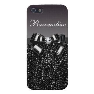 Lentejuelas impresas, arco y diamante negros y bla iPhone 5 protectores