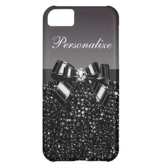 Lentejuelas impresas, arco y diamante negros y bla funda para iPhone 5C