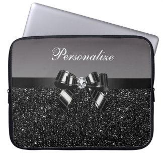 Lentejuelas impresas arco y diamante negros y bla funda computadora