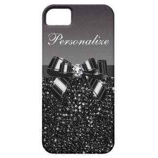 Lentejuelas impresas, arco y diamante negros y funda para iPhone SE/5/5s