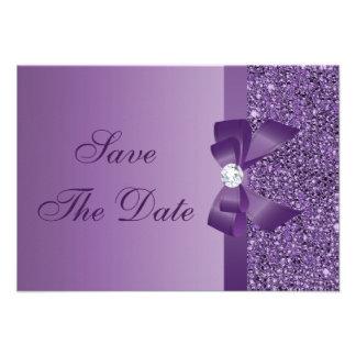 Lentejuelas impresas púrpura que casan reserva la comunicados