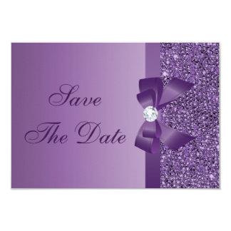 Lentejuelas impresas púrpura que casan reserva la invitación 8,9 x 12,7 cm