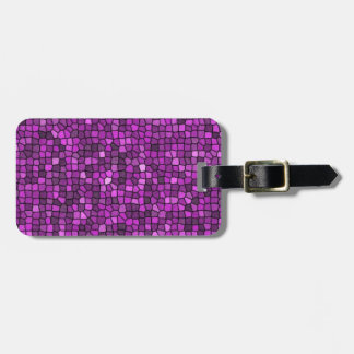 Lentejuelas púrpuras etiqueta de maleta