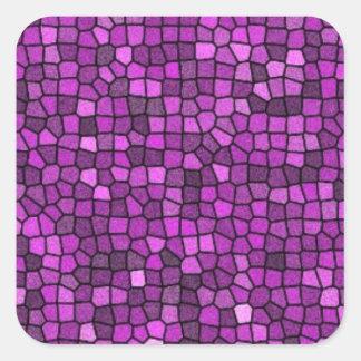 Lentejuelas púrpuras pegatina cuadrada