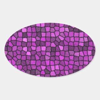 Lentejuelas púrpuras pegatina ovalada