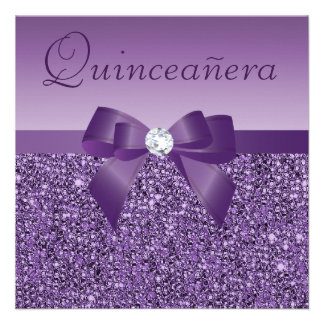 Lentejuelas y arco impresos púrpura Quinceanera Comunicado Personalizado