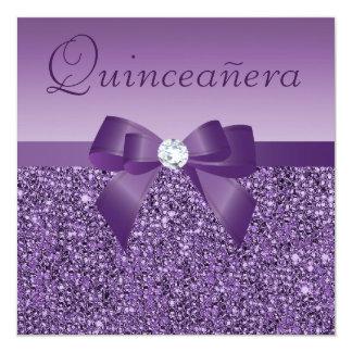 Lentejuelas y arco impresos púrpura Quinceanera Invitación 13,3 Cm X 13,3cm