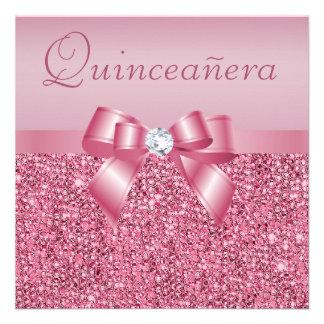 Lentejuelas y arco impresos rosa Quinceanera Anuncio