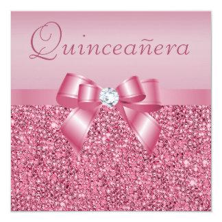 Lentejuelas y arco impresos rosa Quinceanera Invitación 13,3 Cm X 13,3cm