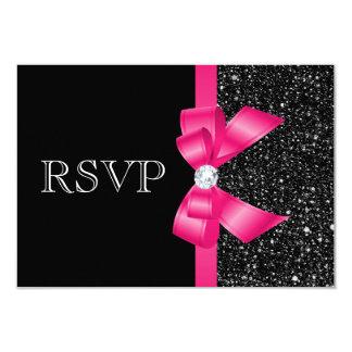 Lentejuelas y arco negros impresos RSVP de las Invitación 8,9 X 12,7 Cm