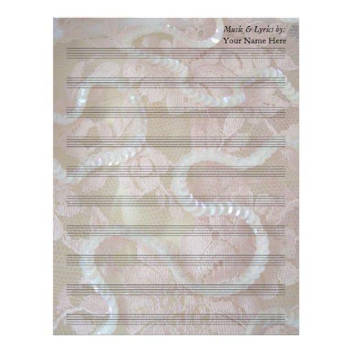 Lentejuelas y bastón en blanco de la partitura 10  plantillas de membrete