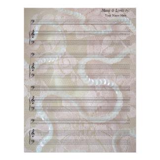 Lentejuelas y Clef bajo de la partitura en blanco Membrete