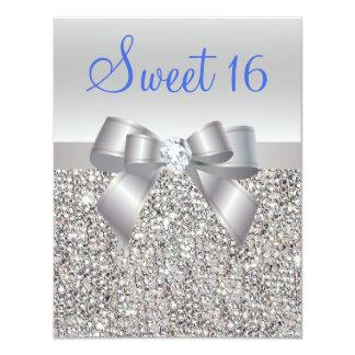 """Lentejuelas y dulce de plata 16 del texto del azul invitación 4.25"""" x 5.5"""""""