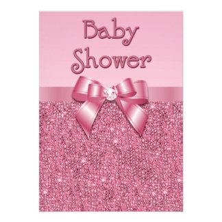 Lentejuelas y fiesta de bienvenida al bebé rosadas