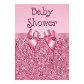 Lentejuelas y fiesta de bienvenida al bebé rosadas invitacion personal