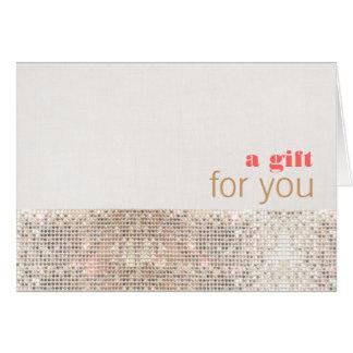 Lentejuelas y tarjeta de regalo de lino (lentejuel