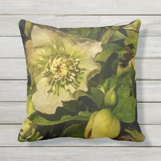 Lenten Rose Hellebore Flower Outdoor Pillow