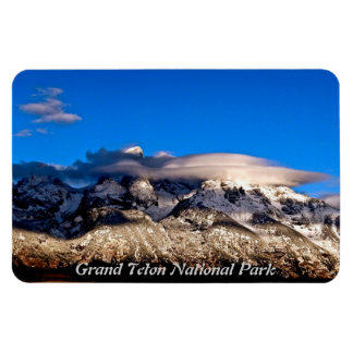LENTICULAR CLOUDS OVER GRAND TETONS MOUNTAINS RECTANGULAR PHOTO MAGNET