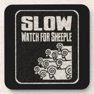Lento - reloj para Sheeple Posavasos
